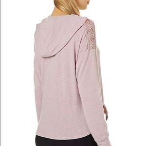 Inspired Hearts Dusty Pink Crochet Shoulder Hoodie